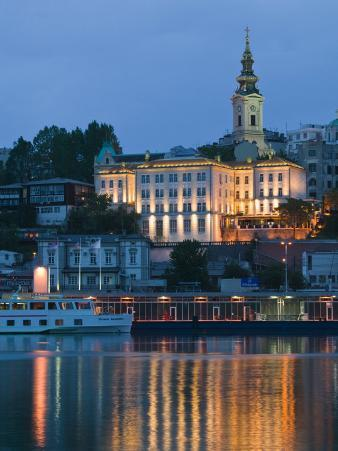 Danube River Barge and Stari Grad, Sava River, Belgrade, Serbia