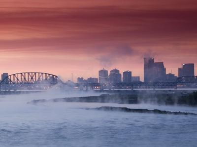 City Skyline along Ohio River, Louisville, Kentucky, USA