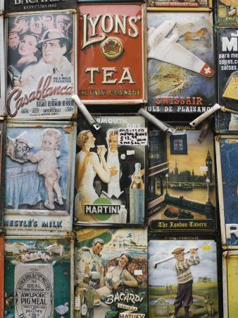 Antique Enamelled Signs, Portobello Road Market, Notting Hill, London, England