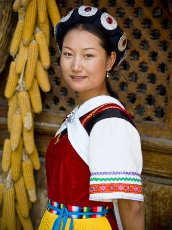 Naxi Minority Woman in Traditional Ethnic Costume, China