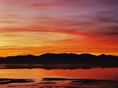Great Salt Lake at sunset, Salt Lake, Utah, USA