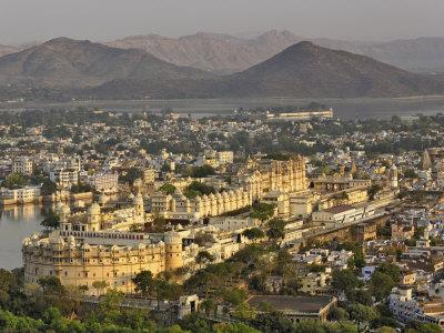 Elevated view of City Palace, Udaipur, India