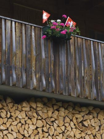 Swiss Flag and Flower Pot, Binn, Wallis, Switzerland