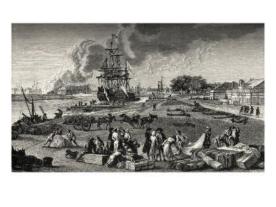 French port of Rochefort: ships/navy in background, bales of cloth and other merchandise