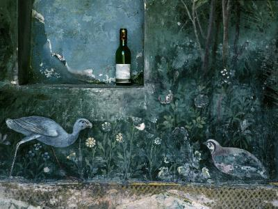 Modern Wine Bottle Sits Atop Shelf in Ancient Pompeii, Italy