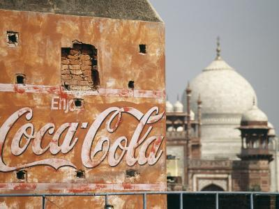 Coca Cola Billboard on a Building with the Taj Mahal in Background
