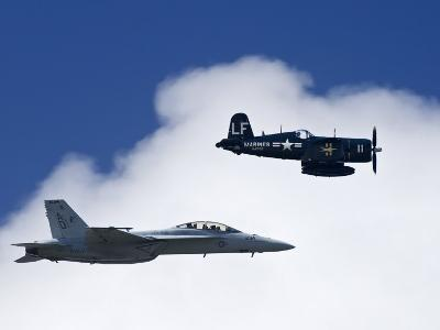 Navy F-18 and a WWII Vintage F4U Corsair at the Nas Oceana Airshow