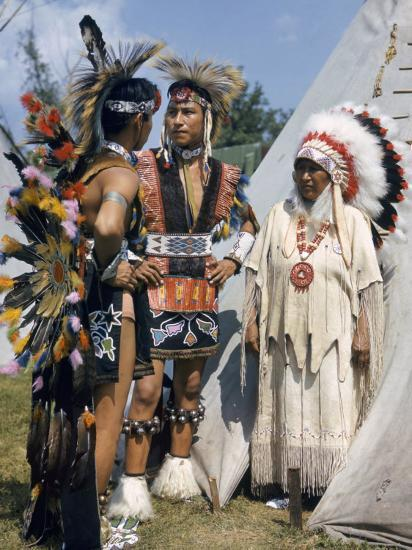 Otoe Indians Wearing Traditional Clothing Stand In Front
