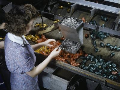 Worker Attaches Wire Holders to Glass Christmas Tree Ornaments