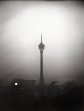 Black and White Portrait of the The Tv Tower of Macau