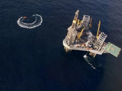 Oil Rig and Safety Boat in the North Atlantic Ocean