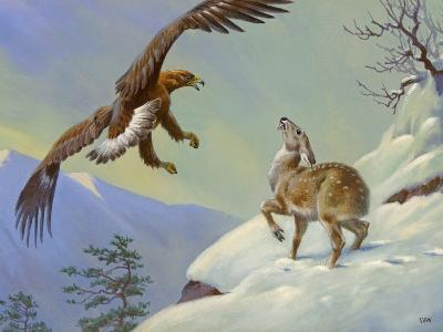 This Painting Depicts a Himalayan Deer Fighting Off an Eagle