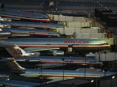 American Airlines Passenger Jets at Terminals at O'Hare Airport