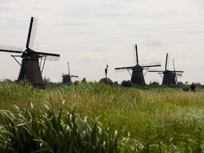 Windmills in a Field in the Netherlands