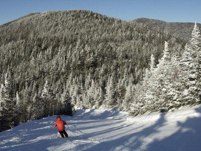 Boy Skis a Run Down from the Summit of Madonna Mountain, Smugglers's Notch, Vt