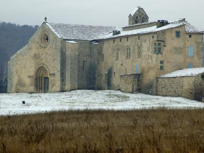 Ancient Stone Priory of Salagon in Winter Snow in Provence