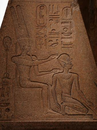 Relief on Fallen Obelisk of Amun Protecting Hatshepsut as Pharaoh