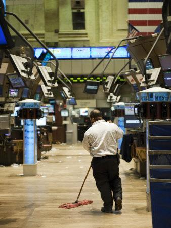 Sweeping the Floor of the New York Stock Exchange after a Slow Day