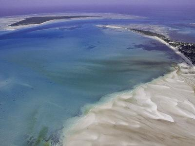 Aerial View of Water Channels on a Tidal Beach
