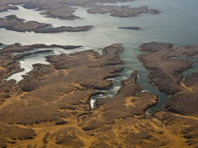 Aerial View of the Coast of Lake Nasser and Sky Reflections