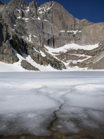 Ice and Snow Still on Chasm Lake and Longs Peak on First Day of Summer