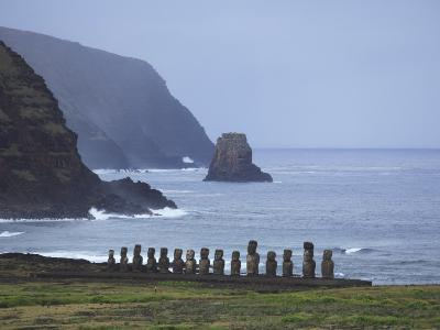 Moai Along the Coast of Easter Island at Ahu Tongariki