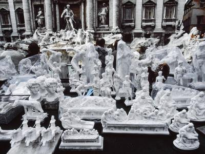 Rome, Italy. the Trevi Fountain with Souveniers of Different Italian Art in the Foreground