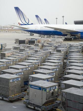United Airlines Cargo Containers are Lined Up at Tokyo Narita Airport