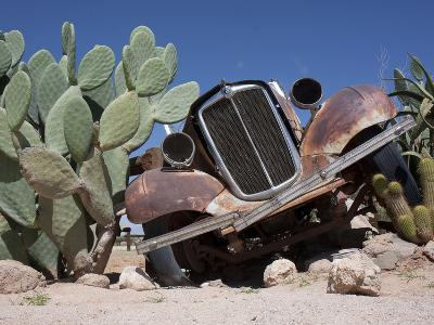 Rusted a Vintage Morris Eight as Decoration in a Cactus Garden