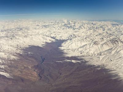 Aerial View of the Snow-Capped Andes Mountains