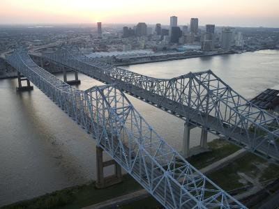 Crescent City Connection Bridge and View of Downtown New Orleans