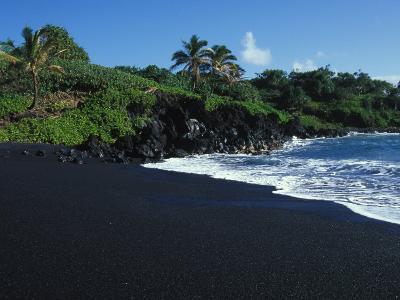 Black Volcanic Sand Beach on Hawaii's Big Island