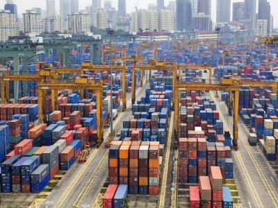 Containers Stacked Together at the Port of Singapore Authority