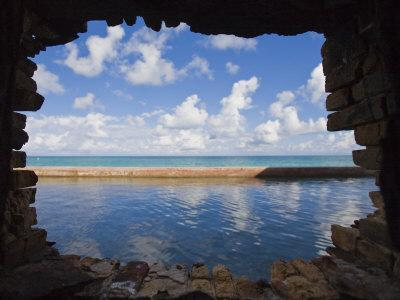 Water and Clouds Seen Through a Hole in a Brick Wall at Fort Jefferson