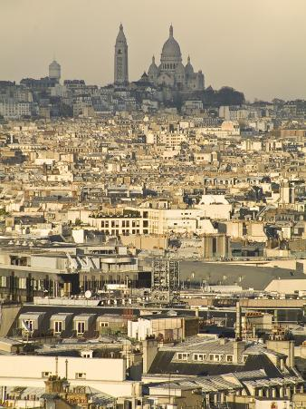Elevated View of Paris with Montmartre and Sacre Coeur Basilica