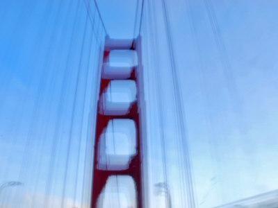 Blurred Picture of Golden Gate Bridge While Driving over It