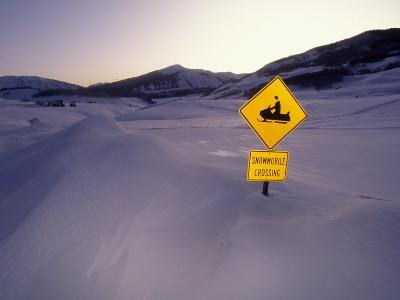 """""""Snowmobile Crossing"""" Sign in a Snowdrift"""