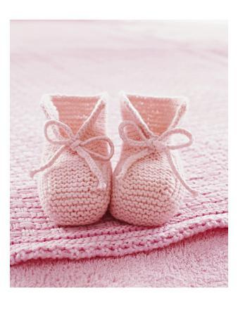Pink Baby Booties with Blanket