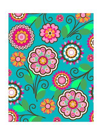 Bright Pink Flowers on Teal