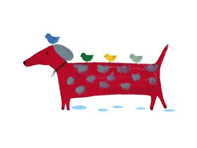 Red Dog with Birds