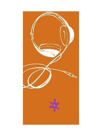 Headphones on Orange Background