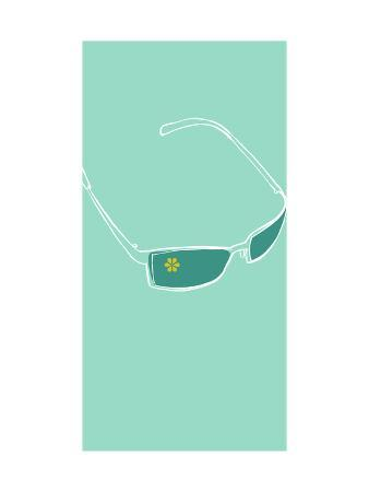 Sunglasses on Teal Background