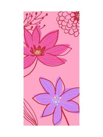 Pink and Blue Flowers with Red Line
