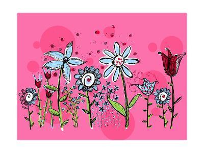 Flower Garden on Pink