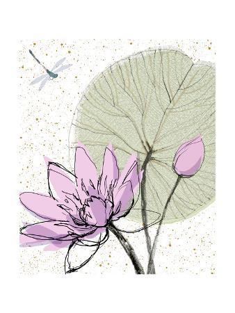 Abstract Lily Pad with Dragonfly