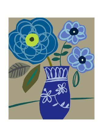 Blue Flowers and Vase
