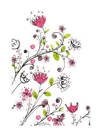 Swirled Flowers on White Background
