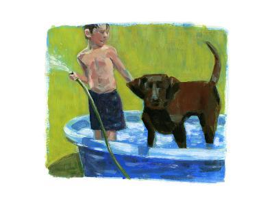 Boy with His Dog in the Pool