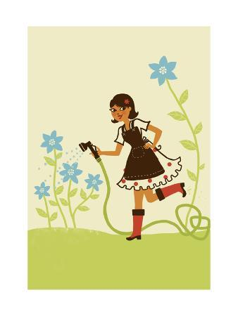 Girl Watering Flower Garden