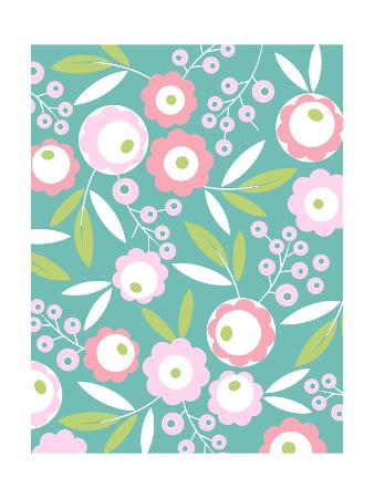 Pink Flower Pattern on Aqua